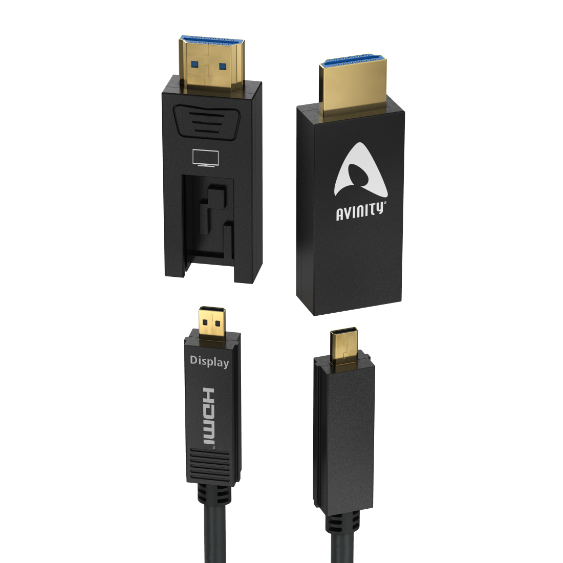 abx High-Res Image - Avinity, Optical, Active HDMI™ Cable with D-A Adapter, Ultra-Thin, gold-plated, 20 m