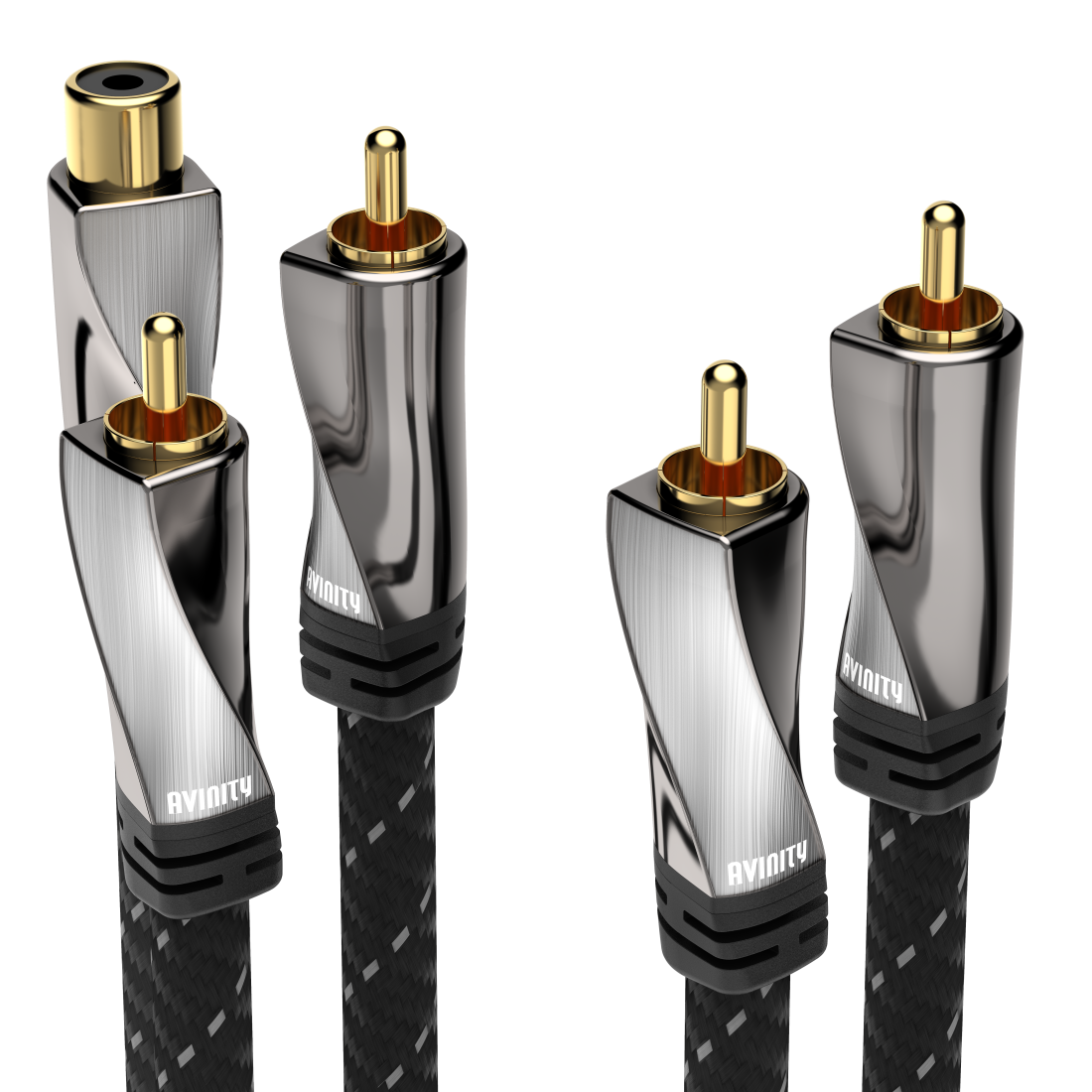 abx High-Res Image - Avinity, Subwoofer Cable + Adapter, RCA socket - 2 RCA plugs, fabric, gold-pl., 2 m