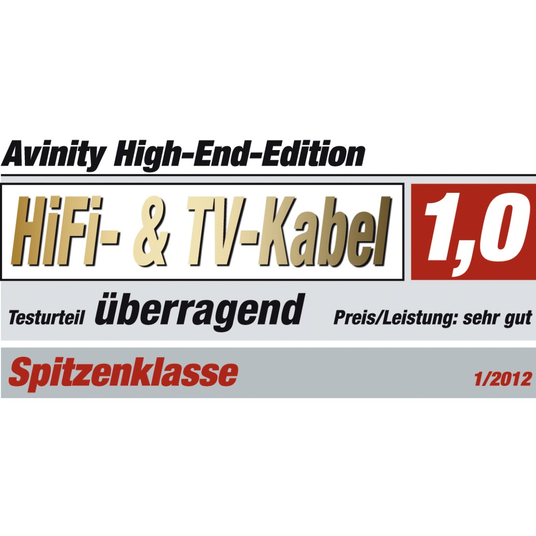 tex6 Druckfähiges Testurteil 6 - Avinity, High Speed HDMI™-Kabel, St. - St., Filter, oval, vergoldet, Ethernet, 1 m